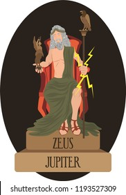 illustration vector isolated of mythological God Greek and Roman, Zeus, Jupiter.