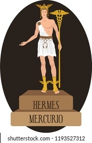 illustration vector isolated of mythological God Greek and Roman, Hermes, Mercurio.