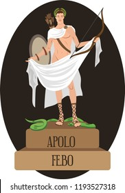 illustration vector isolated of mythological God Greek and Roman, Apollo, Febo.