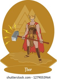 Illustration vector isolated of Nordic Mythical God, Thor, Norse gods