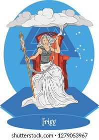 Illustration vector isolated of Nordic Mythical Goddess, Frigg, Norse gods