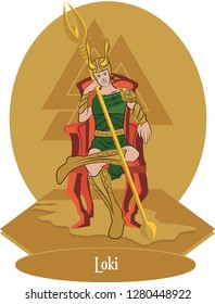 Illustration vector isolated of Nordic Mythical God, Loki norse god, Vector