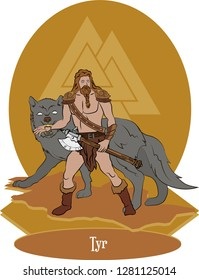 Illustration vector isolated of Nordic Mythical God, Tyr norse god, Vector