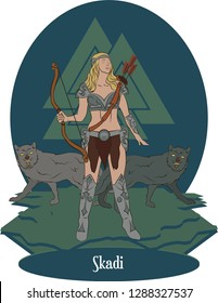 Illustration vector isolated of Nordic Mythical God, Skadi, Norse goddess