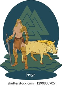 Illustration vector isolated of Nordic Mythical God, Freyr, Norse god