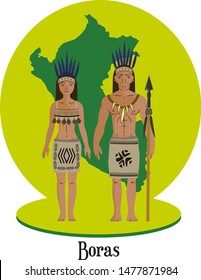 Illustration vector isolated of peruvian native people, Boras, indigenous races