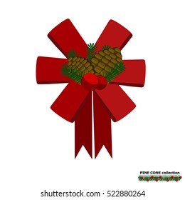 Illustration vector isolated of ribbon bow and pine cone set.