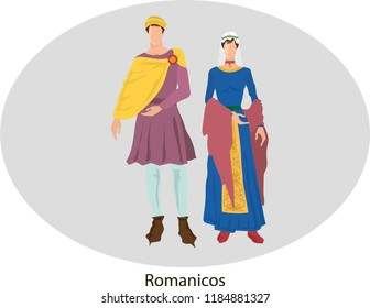 Illustration vector isolated of Romanesque, traditional costumes