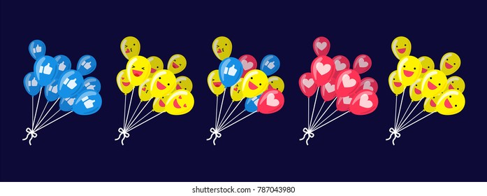 Illustration vector isolated set cartoon flat style of cute happy face and emoticons set on social network on group of flying balloon as social media marketing concept..