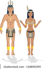 Illustration vector isolated of Tumacos, Colombian native people indigenous