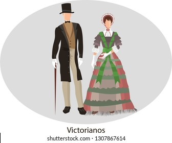 Illustration vector isolated of victorian, traditional costumes - Vector