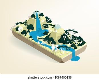illustration vector isometric design of africa wild life, savannah wild life isometric design concept