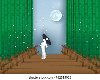 illustration vector of japanese bamboo forest in paper style