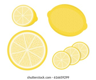 Illustration vector of lemon and slice lemon isolated on white background.