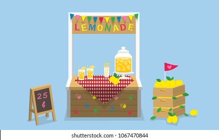 Illustration vector of lemonade stand at garden with sign and lemon wood crate and lemon juice jar.