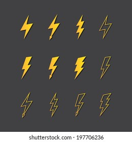 Illustration of vector lightning icon set