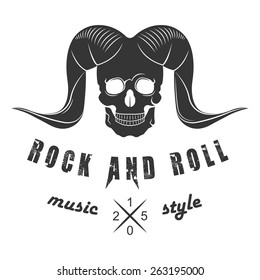Illustration of vector logo for rock and roll of music festival on a white background. Skull with horns for poster or template of badges.