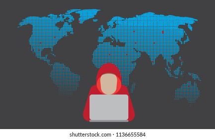 Illustration vector of a male hacker with halftone world map background