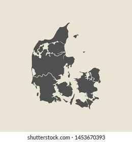 illustration vector map of Denmark