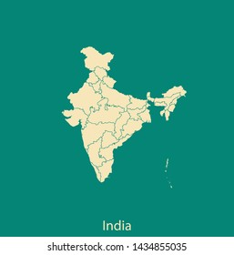 illustration vector map of India
