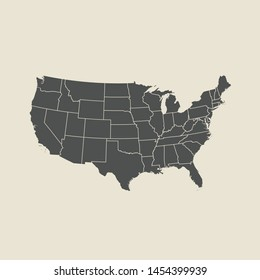 illustration vector map of USA