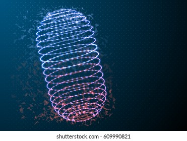 Illustration of Vector Medicine Pill. Futuristic Polygonal Network Vector Cylinder. Wireframe Pill Science Medical Concept