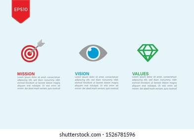 Illustration Vector: Mission. Vision. Values. Web page template. Modern infographic design concept.