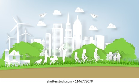 Illustration vector of modern eco world environment and happiness family people, graphic design of eco modern world in paper art style