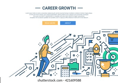 Illustration of vector modern line flat design business composition and infographics elements with a male working his way up the career ladder