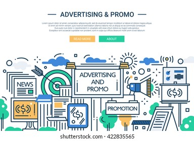 Illustration of vector modern line flat design website banner, header with advertising and promotion tools, means