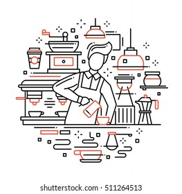 Illustration of vector modern line flat design composition with male barista making and serving coffee at the cafe counter