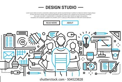 Illustration of vector modern plain line flat design website banner, header with professional design studio team