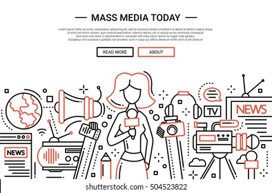 Illustration of vector modern simple line flat design website banner, header with a journalist girl and mass media symbols
