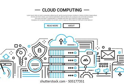 Illustration of vector modern simple line flat design website banner, header with, server and cloud computing technology symbols