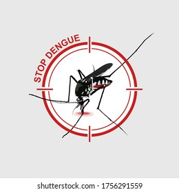 illustration vector. mosquito in red stop sign on gray background. Anti mosquitoes. Mosquitoes carry many disease such as dengue fever, malaria, zika and else.
