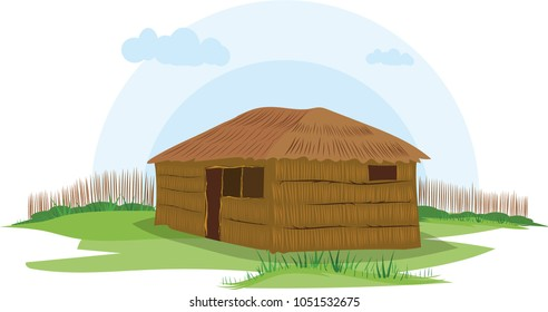 illustration vector of a native house on a white background, native indigenous Wayuu, Colombia,