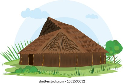illustration vector of a native house on a white background, native indigenous Uitoto, Colombia,
