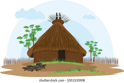 illustration vector of a native house on a white background, native indigenous Kogui, Colombia,