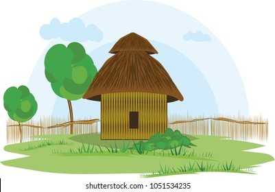 illustration vector of a native house on a white background, native indigenous Guambianos, Colombia,