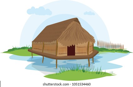illustration vector of a native house on a white background, native indigenous Cunas, Colombia,