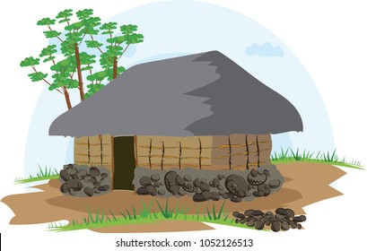 illustration vector of a native house on a white background, native indigenous Arhuaco, Colombia,