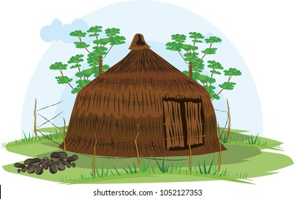 illustration vector of a native house on a white background, native indigenous Tunebo, Colombia,