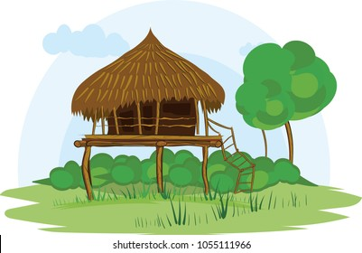 illustration vector of a native house on a white background, native indigenous Guahibos, Colombia