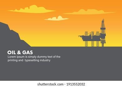 Illustration vector: Ocean oil gas drilling rig offshore platform