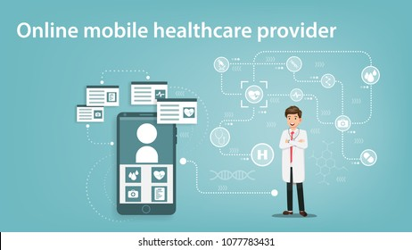 illustration vector, Online mobile healthcare provider.