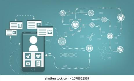 illustration vector, Online mobile healthcare provider.