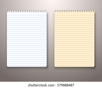 Illustration of Vector Paper Notebook with White and Yellow Sheets. Realistic Vector Notepad Set. Office Equipment, School Supply