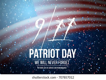Illustration of Vector Patriot Day Poster. September 11th National Tragedy Poster on USA Flag Background