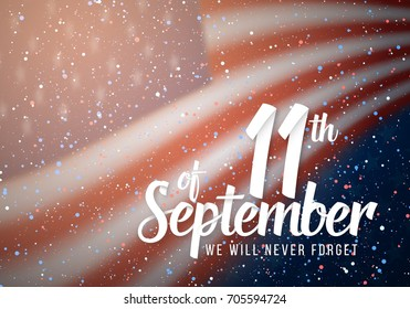 Illustration of Vector Patriots Day Poster. September 11th 2001 Paper Lettering on Blurred USA Flag Background with Confetti