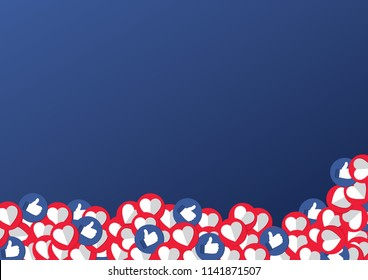Illustration vector, Pile of Heart and Thumbs up shape icon with blue background.